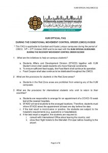 IIUM OFFICIAL FAQ DURING THE CONDITIONAL MOVEMENT CONTROL ORDER CMCO