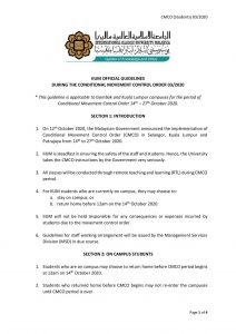 IIUM OFFICIAL GUIDELINE DURING THE CONDITIONAL MOVEMENT ORDER