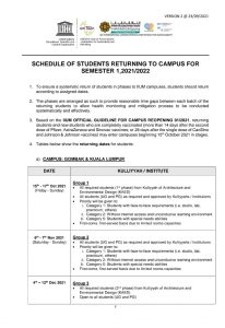 SCHEDULE OF STUDENTS RETURNING TO CAMPUS FOR SEMESTER 1, 2021/2022